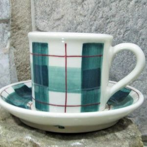 Vintage Hartstone Stoneware Green and Red Plaid Co